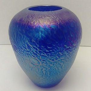 Signed Wheaton Art blue irridescent vase